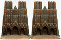 Books:Furniture & Accessories, [Bookends]. Pair of Matching Bookends Depicting Bishop's Cathedral.Signed Veron, circa 1929. ... (Total: 2 Items)