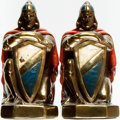 Books:Furniture & Accessories, [Bookends]. Pair of Matching Bookends Depicting Kneeling Knightswith Shields. [Armor Bronze], [n.d., circa 1926]. ... (Total: 2Items)