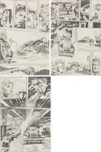 """Gene Colan Nathaniel Dusk II #1 """"Apple Peddlers Die at Noon"""" Partial Story Pages 23-25 Original Art Group of 3..."""