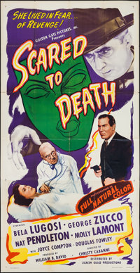 """Scared to Death (Screen Guild Productions, 1947). Three Sheet (41"""" X 79""""). Horror"""