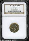 """Proof Buffalo Nickels: , 1936 5C Type Two--Brilliant Finish PR 67 NGC. The current CoinDealer Newsletter (Greysheet) wholesale """"bid"""" price is $1900.0..."""