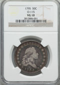 Early Half Dollars, 1795 50C 2 Leaves, O-115, R.5, VG10 NGC....