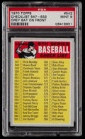 Baseball Cards:Singles (1970-Now), 1970 Topps Checklist 547-633, Grey Bat On Front #542 PSA Mint 9....