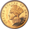 Proof Three Dollar Gold Pieces, 1883 $3 PR66 Deep Cameo PCGS Secure. CAC....
