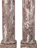 Paintings, A Pair of Rouge Marble Columns, late 19th century. 47 inches high (119.4 cm). ... (Total: 2 Items)