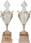 Decorative Arts, Continental:Other , A Large Pair of Baccarat-Style Cut-Glass Urns with Gilt BronzeMounts and Marble Bases, late 20th century. 54 inches high (1...(Total: 2 Items)