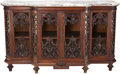 Furniture , A Victorian Glazed Carved Mahogany Sideboard Vitrine with Marble Top, circa 1865. 44-1/2 inches high x 72 inches wide x 27-1...