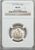 Standing Liberty Quarters, 1917 25C Type Two MS66 NGC. NGC Census: (25/4). PCGS Population: (29/2). CDN: $700 Whsle. Bid for NGC/PCGS MS66. Mintage 13...