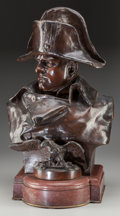 Fine Art - Sculpture, European:Antique (Pre 1900), Renzo Colombo (French/Italian, 1856-1885). Napoleon, 1885.Bronze with brown patina. 22 inches (55.9 cm) high on a 3-1/2...(Total: 2 Items)