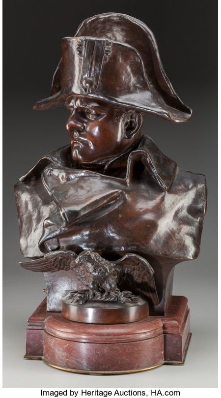 Renzo Colombo (French/Italian, 1856-1885)Napoleon, 1885Bronze with brown patina22 inches (55.9 cm) high on a 3-1/2... (Total: 2 Items)