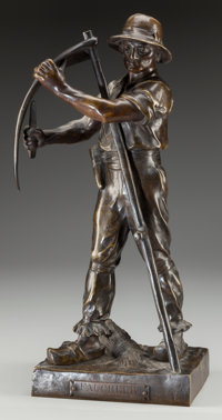 HENRI LOUIS LEVASSEUR (French, 1853-1934) Faucheur, circa 1910 Bronze with brown patina 17-1/2 in