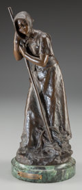 Fine Art - Sculpture, European:Antique (Pre 1900), Anatole Guillot (French, 1865-1911). La Paysanne. Bronzewith brown patina. 13-1/2 inches (34.3 cm) high on a 1-1/2 inch...