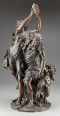 Fine Art - Sculpture, European:Antique (Pre 1900), After Michel Claude Clodion (French, 19th Century).Bacchanalia. Bronze with brown patina. 30 inches (76.2 cm)high. Ins...