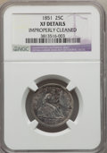 Seated Quarters: , 1851 25C -- Improperly Cleaned -- NGC Details. XF. NGC Census: (4/27). PCGS Population (7/42). Mintage: 160,000. Numismedia...