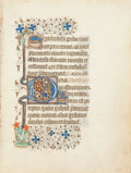 "Books:Illuminated Manuscripts, [Illuminated Manuscript]. [Illuminated Initial from a Breviary onvellum:] ""Deus in audiutorium... Enixa est puerera que..."