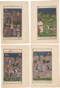 Books:Art & Architecture, [Illuminated Manuscript]. Four Persian Manuscript Leaves with LargeMiniatures. [N.p., n.d., circa eighteenth century].... (Total: 4Items)