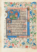 "Books:Illuminated Manuscripts, [Illuminated Manuscript]. Large Illuminated Initial ""D"" from a Medieval Book of Hours: Matins. France: circa 1450...."
