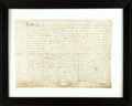 Autographs:Non-American, Framed Seventeenth-Century Land Indenture in the Reign of Charles I. Manuscript on vellum. Dated 1634. ...