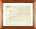 Autographs:Non-American, Framed Seventeenth-Century Legal Document on Vellum. No date, circa17th-century. ...