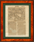 Books:Prints & Leaves, [Early Printing]. Framed Sixteenth-Century Leaf from the Proverbs of King Solomon. [n.d., circa 1513]. ...