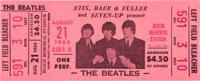 Beatles Unused St. Louis Concert Ticket (1966)