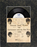 Music Memorabilia:Autographs and Signed Items, Beatles - George Harrison Signed 1963 Christmas Fan Club RecordSent to Arthur Kelly and Family in Matted Display (UK, 1963)....