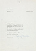 Music Memorabilia:Autographs and Signed Items, Beatles - George Harrison Typed Letter Signed in Matted Display(Amsterdam, February 3, 1977). ...