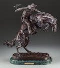 Fine Art - Sculpture, American:Contemporary (1950 to present), After Frederic Remington (American, 20th Century). BroncoBuster. Bronze with brown patina. 22 inches (55.9 cm) high on...