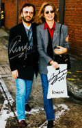 Music Memorabilia:Autographs and Signed Items, Beatles - Ringo Starr and Barbara Bach Signed Large Color Photo inMatted Display (Circa 1990s). ...