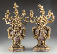 A Pair of Napoleon III Marble and Gilt Bronze Seven-Light Candelabra, 19th century 28 inches high (71.1 cm)