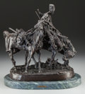 Fine Art - Sculpture, European:Antique (Pre 1900), Evgeni Evgen'evich Lancere (Russian, 1875-1946). Cossack AfterBattle. Bronze with brown patina. 17 inches (43.2 cm) hig...