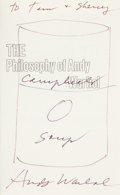 Books:Art & Architecture, Andy Warhol. The Philosophy of Andy Warhol (From A to B and BackAgain). New York and London: Harcourt Brace Jov...