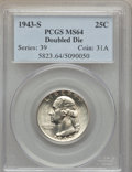 Washington Quarters: , 1943-S 25C Doubled Die Obverse MS64 PCGS. PCGS Population (51/29).NGC Census: (28/18). ...