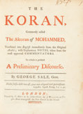 Books:Religion & Theology, [Koran]. [George Sale, translator]. The Koran, commonly called the Alcoran of Mohammed, translated into English ...