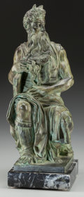Sculpture, After Michelangelo Buonarroti (Italian, 20th Century). Moses. Bronze with green patina. 18-1/2 inches (47.0 cm) high on ...