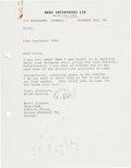 Music Memorabilia:Autographs and Signed Items, Beatles - Brian Epstein Typed Letter Signed to Horst Fascher of the Star-Club in Hamburg (Liverpool, September 14, 1962). ...