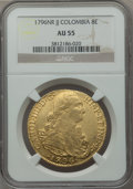 Colombia, Colombia: Charles IV gold 8 Escudos 1796 NR-JJ AU55 NGC,...