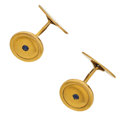 Estate Jewelry:Cufflinks, Antique Sapphire, Gold Cuff Links. ...