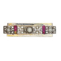 Estate Jewelry:Brooches - Pins, Diamond, Ruby, White Metal Brooch. ...