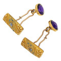 Estate Jewelry:Cufflinks, Amethyst, Enamel, Gold Cuff Links. ...
