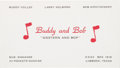 Music Memorabilia:Memorabilia, Buddy Holly - Buddy And Bob Business Card c. 1953....