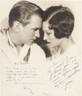 Movie/TV Memorabilia:Autographs and Signed Items, A Joan Crawford and Douglas Fairbanks, Jr. Signed Sepia Photographby Ruth Harriet Louise, 1929....