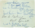 Music Memorabilia:Autographs and Signed Items, Beatles - Early Signatures Including Pete Best and Neil Aspinall(Doncaster, August 8, 1962)....