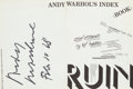 Books:Art & Architecture, Andy Warhol. Andy Warhol's Index (Book). New York: Random House, 1967....
