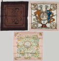 """Luxury Accessories:Accessories, Hermes Set of Three 90cm Silk Scarves; Green & Brown""""Napoleon,"""" by Philippe Ledoux Silk Scarf, Pink & Yellow """"L'AirMarin,"""" b... (Total: 3 Items)"""