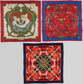 "Luxury Accessories:Accessories, Hermes Set of Three 90cm Red, Blue & Beige Silk Scarves;""Provence,"" by Hugo Grygkar, ""Eperon d'Or,"" by Henri d'Origny, and""P... (Total: 3 Items)"