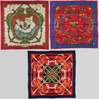 "Hermes Set of Three 90cm Red, Blue & Beige Silk Scarves; ""Provence,"" by Hugo Grygkar, ""Eperon d'Or,&q..."