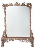 Decorative Arts, Continental:Other , A Large Bavarian Carved Wood Figural Hall Mirror with Base, 19thcentury. 107-1/2 inches high x 85 inches wide x 9 inches de...(Total: 2 Items)