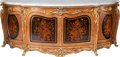 Furniture : French, A Joseph Cremer Regence-Style Gilt Bronze Mounted Mahogany Credenzawith Marquetry Panels and Marble Top, 19th century. Sign... (Total:2 Items)