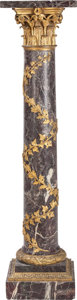 Decorative Arts, French, A Neoclassical Rouge Marble Column with Gilt Bronze Mounts, late19th century. 52 inches high (132.1 cm). PROPERTY FROM A ...